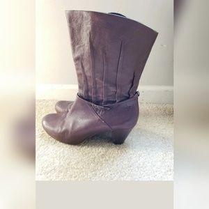 FRYE Lisa Pleated Brown Leather Heel Boot 10 M